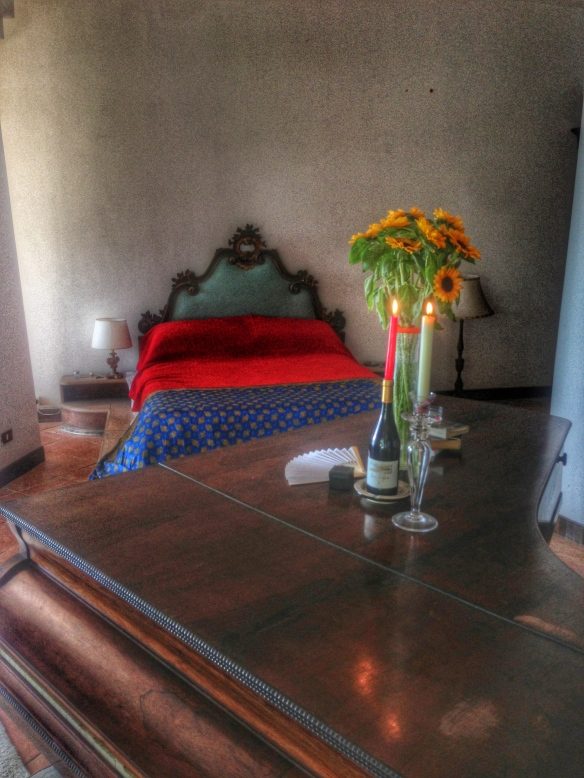My bed in my Napoli villa. Pre-order my book today and send receipt to be entered to win a trip here.